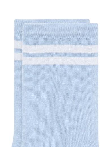 Mavi Bileği Çizgili Mavi Soket Çorap Mavi